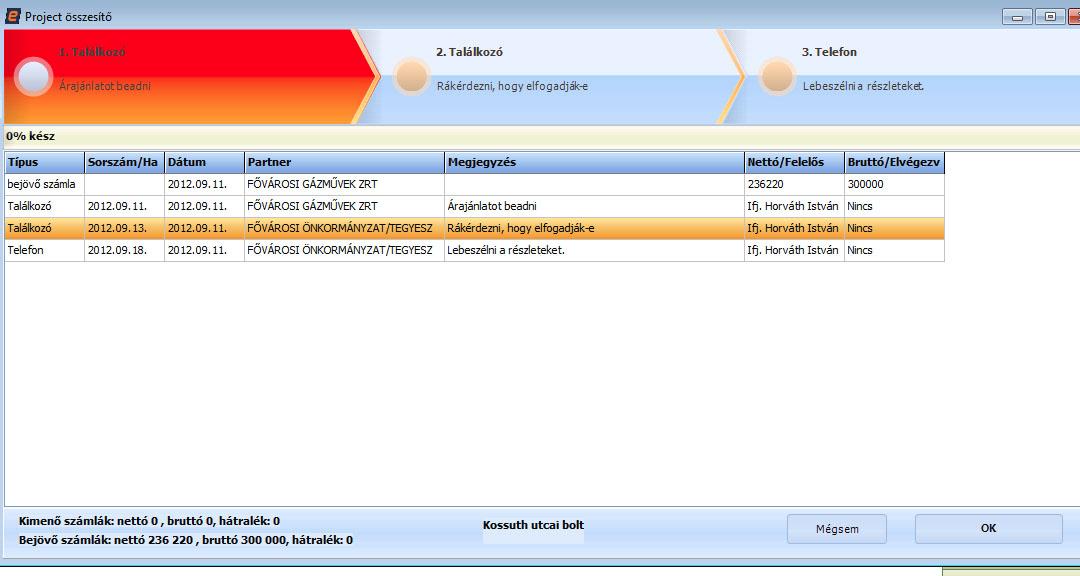 projekt modul a Számlázó Programom-ban